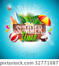 Summer Time Holiday typographic illustration 32771087