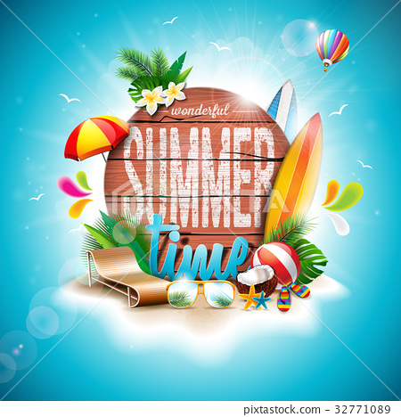 Summer Time Holiday typographic illustration 32771089