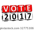 3D Block Red Text VOTE 2017 over white background. 32775306