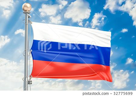 Russian flag waving in blue cloudy sky 32775699