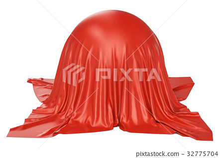 sphere covered red fabric, 3D rendering 32775704