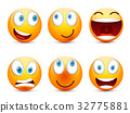 Smiley with blue eyes,emoticon set. Yellow face 32775881