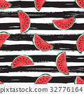 Water Melon Seamless Pattern Striped Vector 32776164