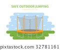 Jumping trampoline flat realistic icon 32781161