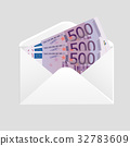 Open envelope and 500 euro bills cash 32783609