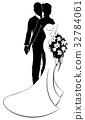 Wedding Concept Bride and Groom Silhouette  32784061