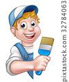 Painter Decorator Handyman Cartoon Character 32784063