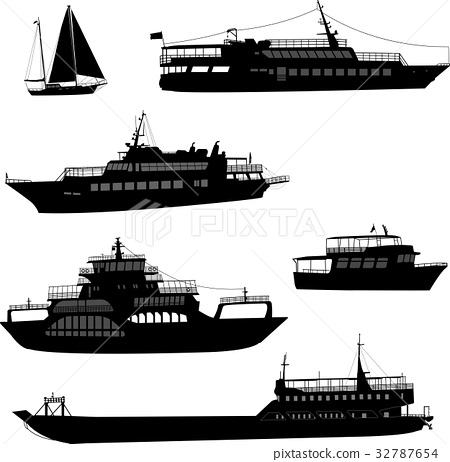 ships and boats silhouettes 32787654
