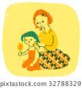 娘の髪を結うママ 32788329