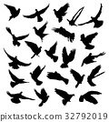 Collection of vector silhouettes of flying pigeons 32792019