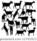 Collection of vector silhouettes of goats 32792021
