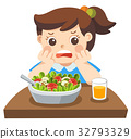 Unhappy girl doesn't want eat healthy vegetables. 32793329