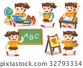 Back to School. Cute children have fun in class. 32793334