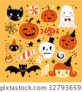 Halloween holiday set with hand drawing elements 32793659