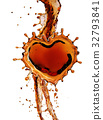 Heart from cola splash with bubbles isolated on 32793841