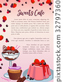 Bakery sweet desserts and cakes vector poster 32797360