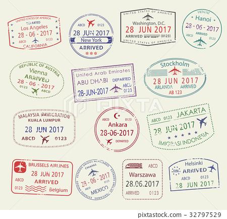 Vector Icons Of City Passport Stamps World Travel Stock Illustration 32797529 Pixta