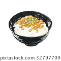 natto on rice, aquarelle, water color 32797799