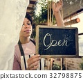 Woman is hanging blackboard with open word for service 32798875