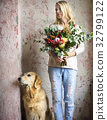 Woman Hands Holding Beautiful Flowers Bouquet 32799122