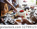 Friends Gathering Together on Tea Party Eating Cakes Enjoyment happiness 32799123