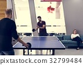 People break playing table tennis relax 32799484