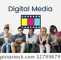 Movie Cinema Film Digital Media Word Graphic 32799679