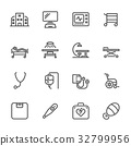 Hospital and medical equipment icons set. 32799956