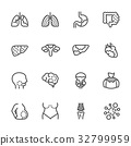 Cancer , Medical and healthcare icons set. 32799959