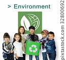 Little Kids with Recycle Sign Eco Friendly Save Earth Word Graphic 32800692