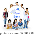Piggy Bank Money Savings Future Investment Word Graphic 32800930