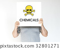 People holding placard with skull icon and chemicals dangerous 32801271