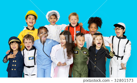 Group of Diverse Kids Wearing Career Costume Studio Portrait 32801573