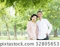 คู่ oshidori อาวุโสสีเขียวสด 32805653