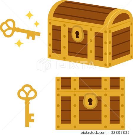 Treasure chest and key 32805833