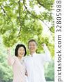 คู่ oshidori อาวุโสสีเขียวสด 32805988