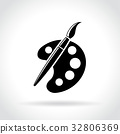 brush palette icon on white background 32806369