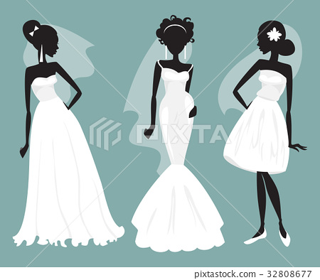 Set brides in various wedding dresses 32808677