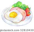수채화 일러스트 식품 햄에그 32810430