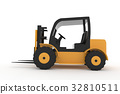 forklift truck on isolated white in 3d rendering 32810511