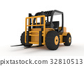 forklift truck on white isolated background in 3d 32810513