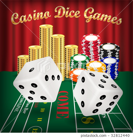 dice games with white dice and casino chip 32812440