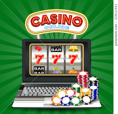 online casino slot machine game on laptop computer 32812441