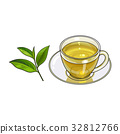 Glass cup, saucer and fresh green tea leaf 32812766