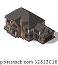 House decorated in style half-timbered framework. 32813016