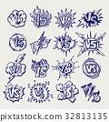 Versus ballpoint pen sketch labels collection 32813135