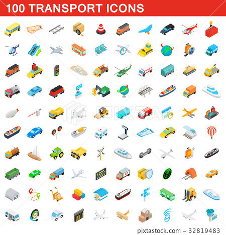 100 transport icons set, isometric 3d style 32819483