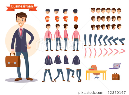 Set of vector cartoon illustrations for creating a 32820147