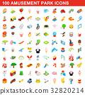 100 amusement park icons set, isometric 3d style 32820214