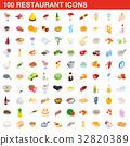 100, restaurant, icons 32820389